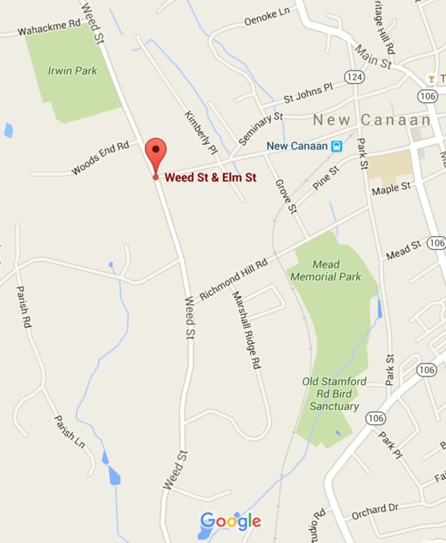 Traffic was being diverted Tuesday at Weed and Elm streets in New Canaan.