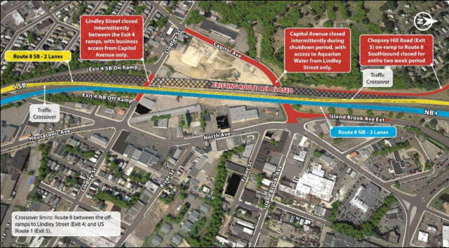 "The ""Stage 1 Crossover Plan"" for the Route 8 Bridgeport project begins Friday night at 7 p.m."