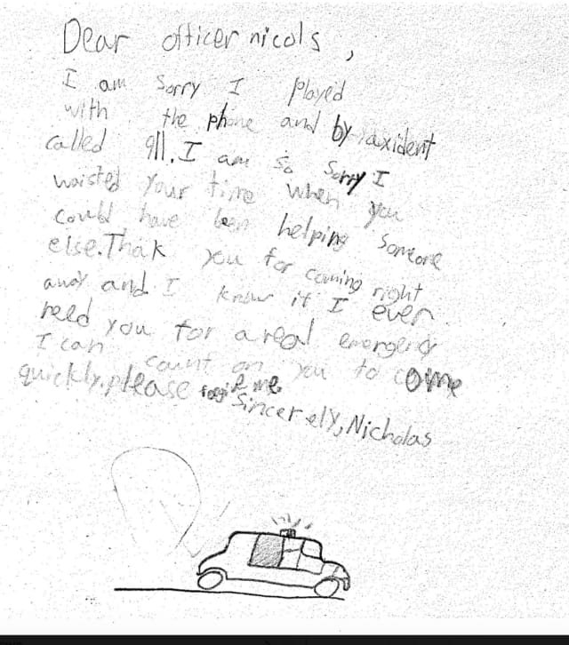 East Fishkill police responded to a boy's mistaken 911 call, for which the boy apologized in a letter (shown here).