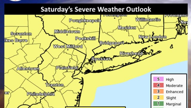 The storm threat Saturday extends throughout the tristate area.