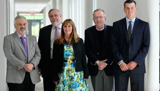 NACVA CT chapter representatives Dan Pannese (SHU professor); Robert Carubia and Roz DeCaprio, Welch College of Business; Dean John Chalykoff and scholarship recipient Jeffrey Stoddard. Sacred Heart was awarded $25K by the NACVA.