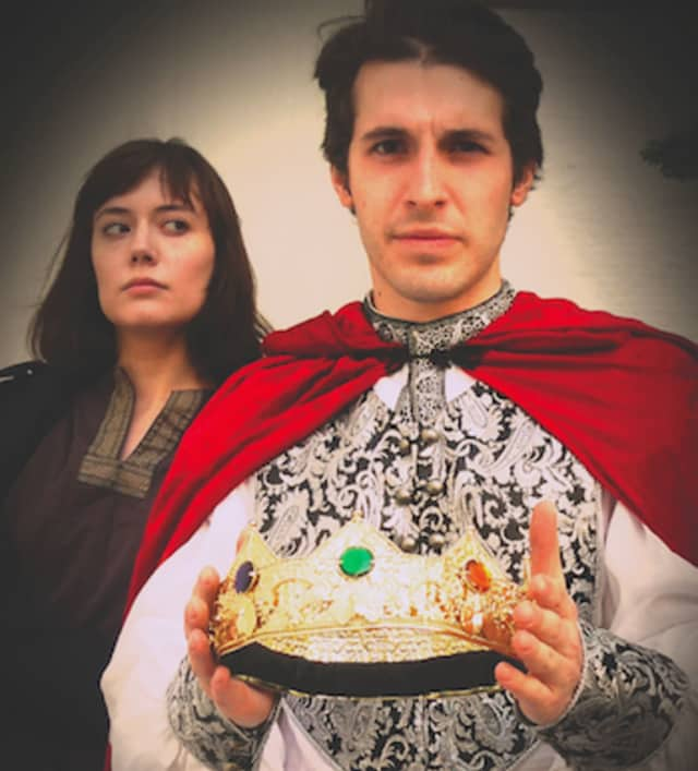 "Rhiannon Lattimer (left) and Ryan Molloy star in Hudson Shakespeare's ""Richard II"" in a performance June 25 at the Stratford Library on."