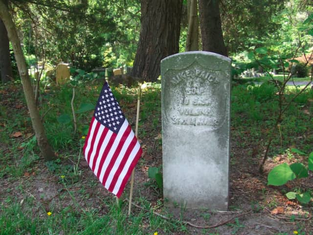 A headstone in the cemetery