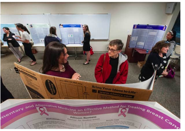 Approximately 45 seniors at Sacred Heart University in Fairfield vying for their bachelor's degrees in health science recently displayed their final research posters to faculty judges.