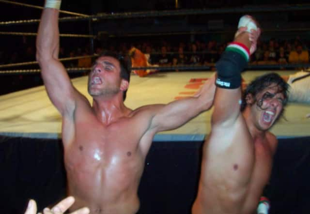Former WWE/ECW star Nunzio (left) will wrestle at the June 18 fundraising event at the Boys and Girls Club in Lodi.