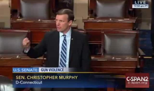 U.S. Sen. Chris Murphy, a Democrat from Connecticut, leads a filibuster on the floor of the Senate last year on the issue of gun violence.