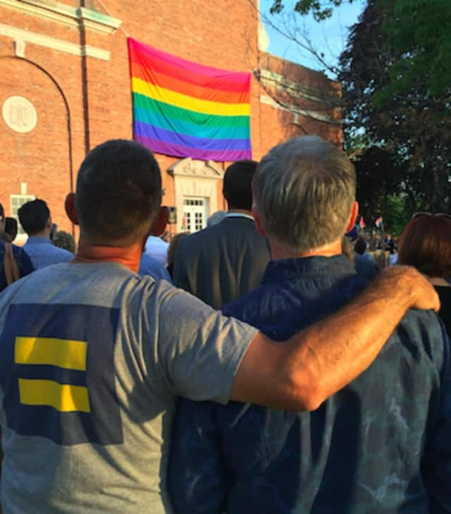 Hundreds attend an Interfaith Vigil in Norwalk in memory of the 49 people murdered at a gay nightclub in Orlando, the deadliest shooting in U.S. history.