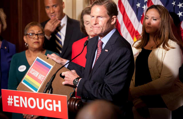 U.S. Sen. Richard Blumenthal calls for his Senate colleagues to approve gun control legislation in the wake of the deadly shootings in Orlando last weekend.