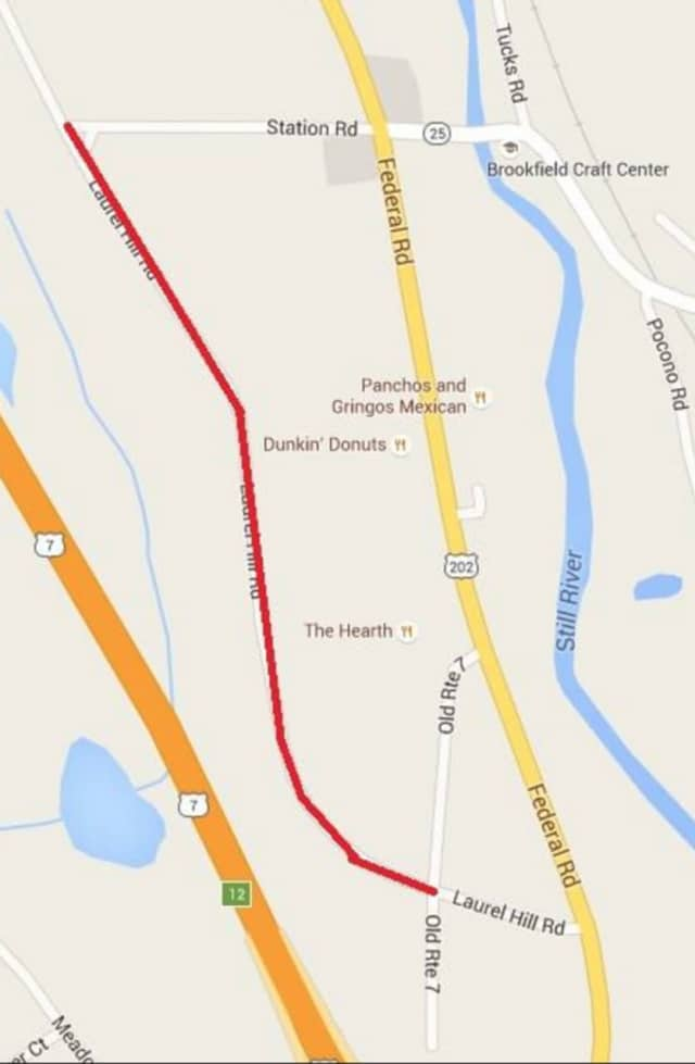 Laurel Hill Road in Brookfield will be closed for paving.