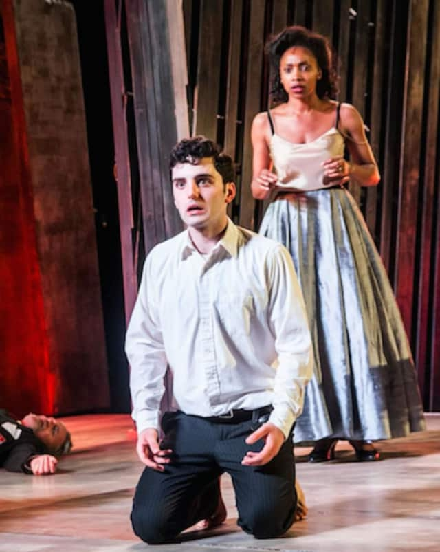 Joey Santia stars in the title role of Hamlet, with Simone Moore as his mother, Queen Gertrude.