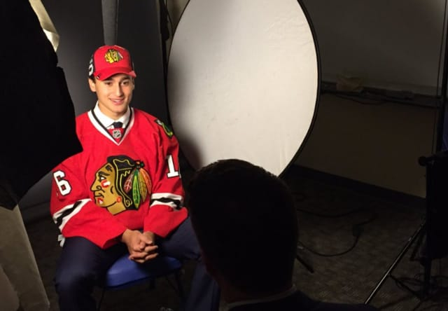 Chad Krys after being selected by the Chicago Blackhawks in the NHL Draft Saturday in Buffalo.