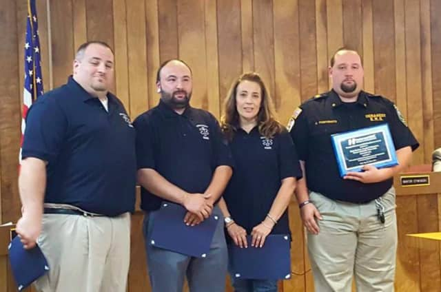 (from left) Driver/EMR Robert Schiraldi, EMT Chris Cardaci, EMT Maria Selle, Chief Joseph P. Fortunato III