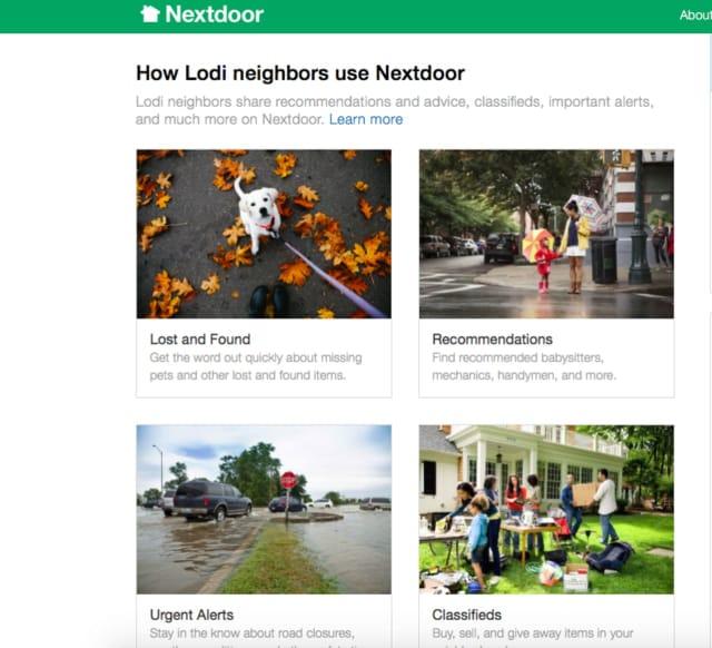 Lodi has partnered with social networking site, Nextdoor.