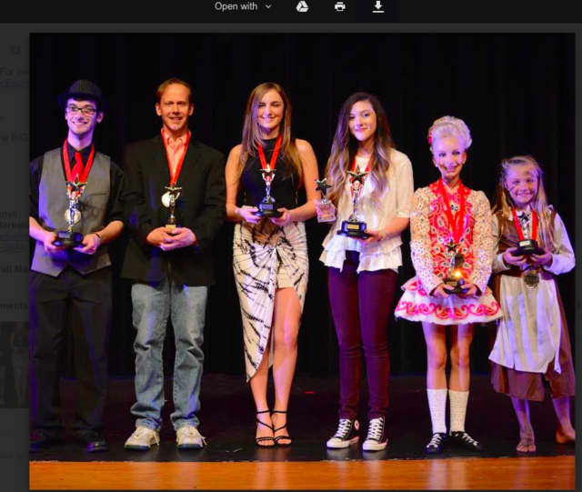 The winners from left are: in the adult category, 1st prize, Zach Heyde, 2nd prize, Tom Giles, 3rd prize, Riley Thrush, and in the children's category, 1st prize, Taylor Felt, 2nd prize, Lauren Blake, and 3rd prize, Ella Bates.