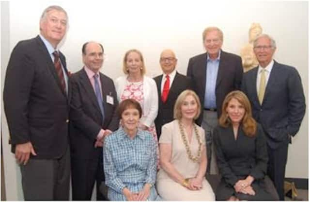 The new executive committee for Bruce Museum are (sitting) Martha R. Zoubek, Leah Rukeyser, Aundrea B. Amine; standing, George E. Crapple, James B. Lockhart III, Patricia W. Chadwick, Jan Rogers Kniffen, William Deutsch, and Robert H. Lawrence, Jr.