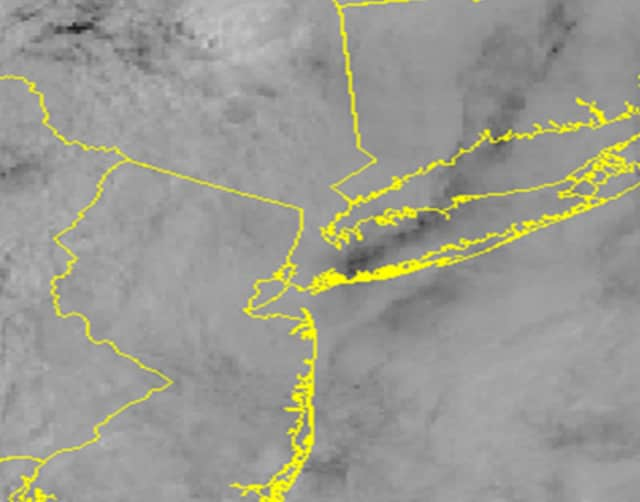 A satellite image of the region mid-morning Saturday shows low stratus and Strato cumulus clouds covering the area.