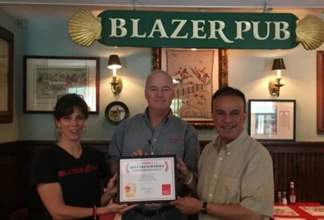 Lef to right: Aran O'Leary, Mick Deakin of The Blazer Pub with Daily Voice Director of Media Initiatives/Managing Editor Joe Lombardi.