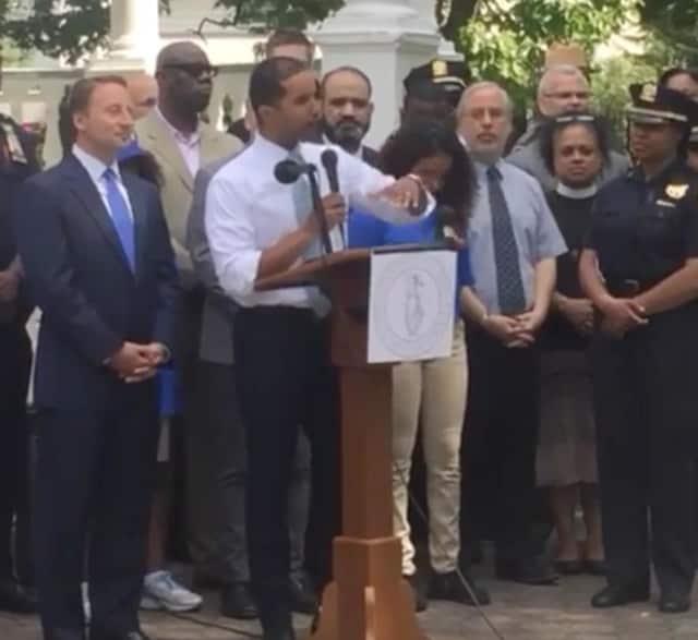 Mount Vernon Mayor Richard Thomas addressing the crowd at the recent Unity Rally.