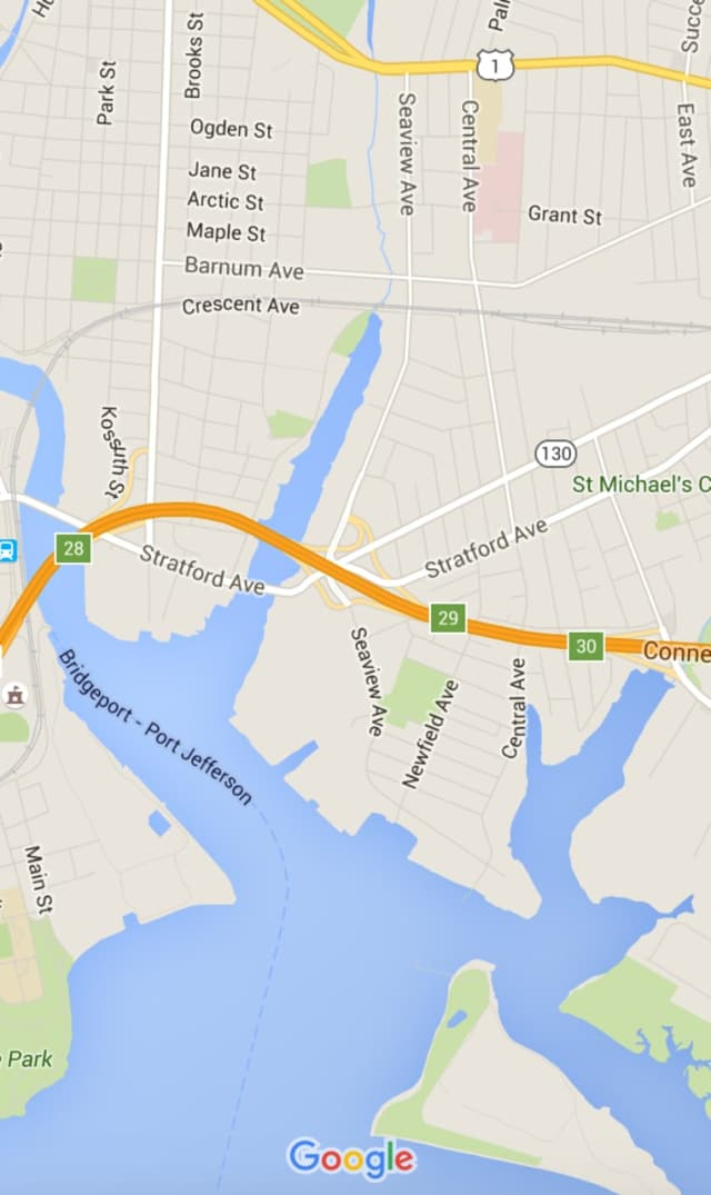 A Bridgeport woman was killed in a two-car crash near Exit 29 on I-95 in the city on Sunday.