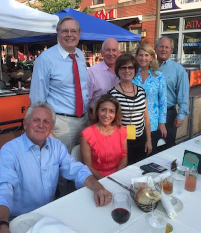 From left sitting Norwalk Mayor Harry Rilling and Lucia Rilling. Standing from left: Stamford Mayor David Martin, Westport First Selectman Jim Marpe, Judy Martin, Darien First Selectman Jayme Stevenson and John Stevenson.
