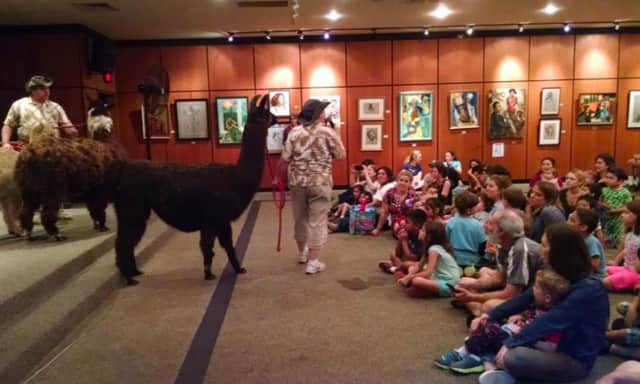 Children enjoy a visit with a llama at an earlier event at the Scarsdale Public Library.