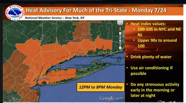 A heat advisory in effect Monday through 6 p.m. covers most of the Hudson Valley.
