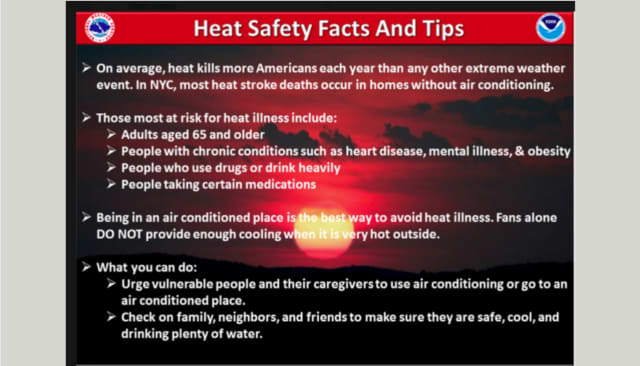 The National Weather Service has provided these tips for safety during the heat.