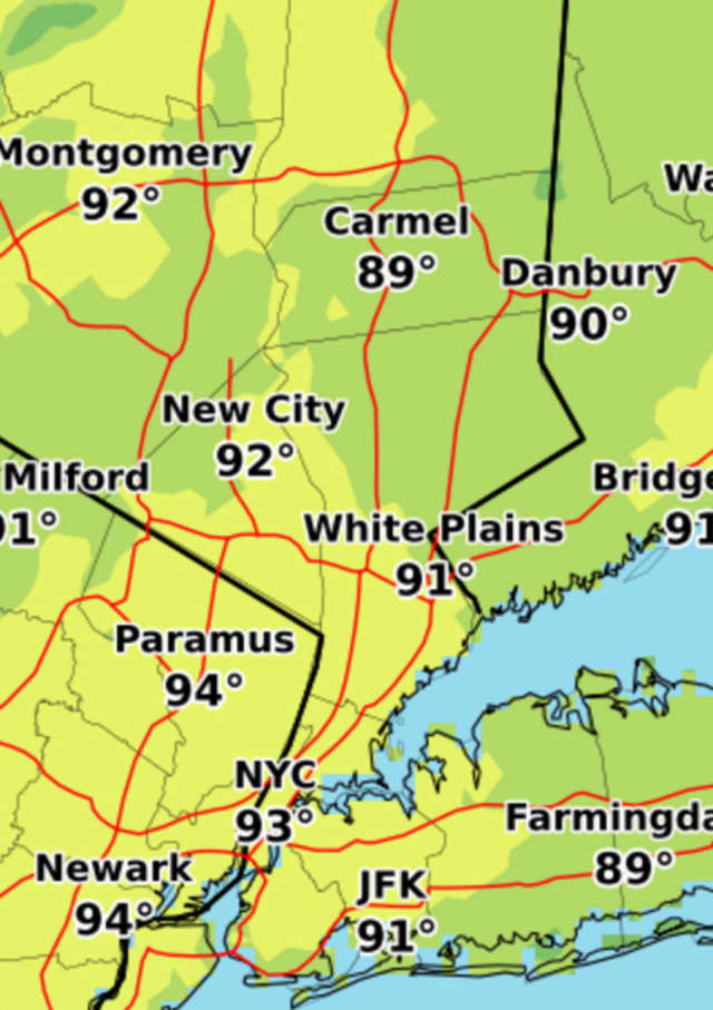 A look at projected high temperatures for Sunday.