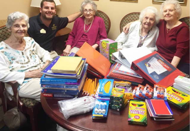 Brandywine Senior Living residents collect school supplies for students in Paterson elementary schools.