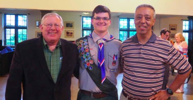 Pastor J. Bruce Martin of the Ridgefield Park Reformed Presbyterian Church, Eagle Scout,Tim Weir, and Elder Glen Chin.