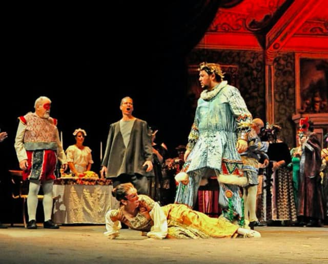 A scene from the New Jersey Association of Verismo Opera's production of Giuseppe Verdi's Rigoletto.