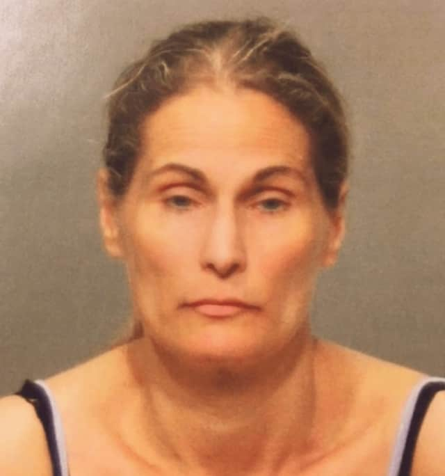 Meighan Marie McSherry, 46, of New York, N.Y., faces charges of first-degree robbery and second-degree larceny in connection with a bank robbery in Greenwich on Thursday.