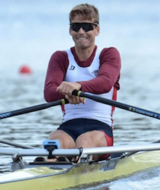 Andrew Campbell of New Canaan advanced to the semifinals in his rowing event Monday at the Summer Olympics in Rio de Janeiro.