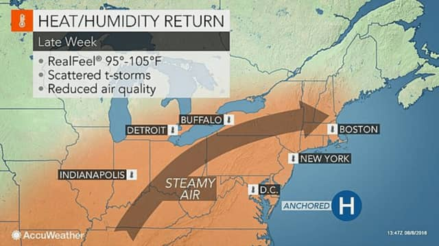 Steamy weather will be returning to the region Wednesday, accompanied by high humidity.