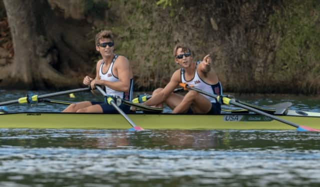 New Canaan's Andrew Campbell, left, and Josh Konieczny finished fifth in the lightweight doubles sculls on Friday at the Summer Olympics in Rio de Janeiro.