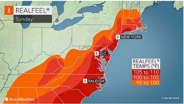 The real-feel temperature will be 100 degrees or higher for area. Sunday.