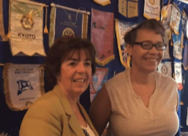 Larchmont Rotary speaker Joanne Amorosi with Rotary member Marian Anderson of Heartsong.