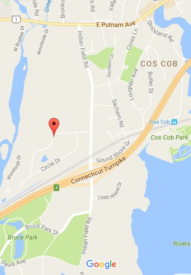 The water main break is on Morningside Drive in Cos Cob, north of I-95 and Bruce Park.