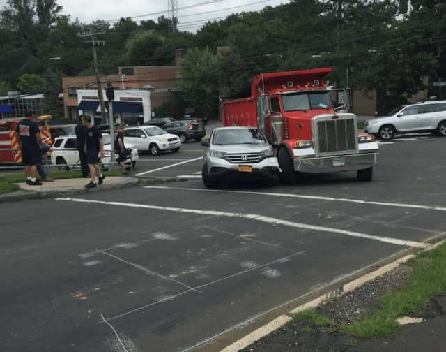 No one was apparently hurt after a Honda CRV and a dump truck collided while trying to make a right turn on to Brookside Drive in Greenwich Tuesday afternoon.