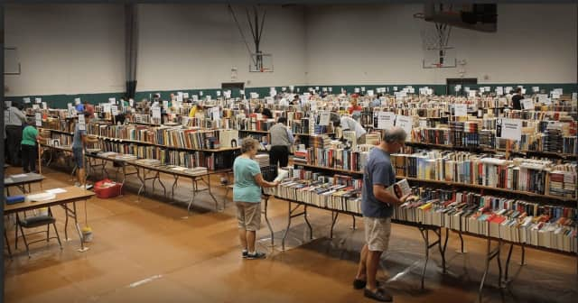 The book fair for the Mark Twain Library in Redding is held at the Redding Community Center.