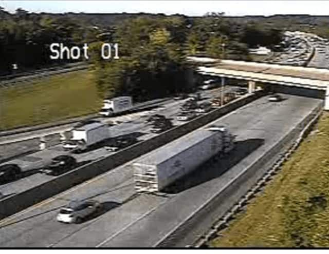 Northbound delays on I-95 stretched back to the interchange of I-287 (shown here),