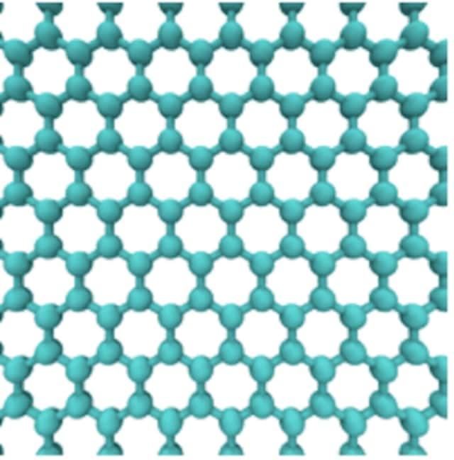 An image of graphene in crystal-lattice form used to desalinate water.
