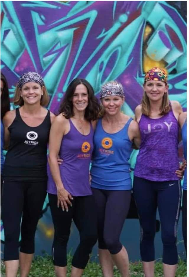 JoyRide instructors Cindy Tamburri, Tricia Buffardi, Amanda Grant and Anne Stauff will model.