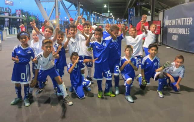 The Ridgefield Park Soccer Association's U9 and U11 teams at the 2016 Family Day Outing at Red Bulls Stadium.