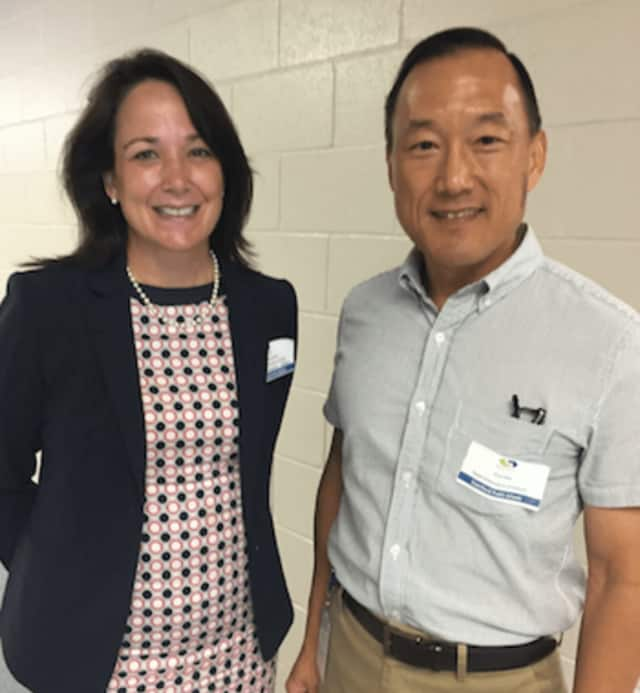 New Stamford Public Schools Superintendent Earl Kim poses with Abbie Lareau, new director of School Improvement and Professional Development, Secondary. They were at the new teachers and staff orientation at Westover School last week.