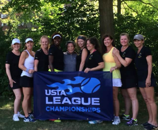 The Stingers 4.0 Women's Team is headed to USTA Nationals. The players, from left to right, are Val Frost, Kelly Genova, Meg Spescha, Lisa Cassells, June Wang, Barbara Naparano, Wendy Laychak, Michele Tesei, Bettina Routh and Meredith Bergman.