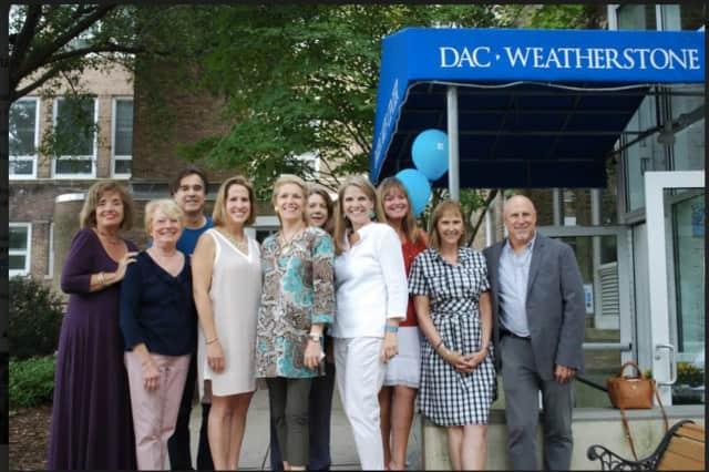 DAC Stage committee members Donna Wyant, Anne Ernst Wright, Joseph Maker, Regina Elliott, Abbie Van Nostrand, Dana Fead, Autumn Howard, Joan Carlo, Carin Zakes and Peter Green outside the DAC Weatherstone Studio
