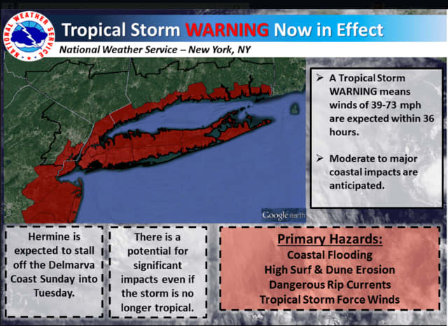 A Tropical Storm Warning is now In effect for coastal Connecticut and areas shown in red above.