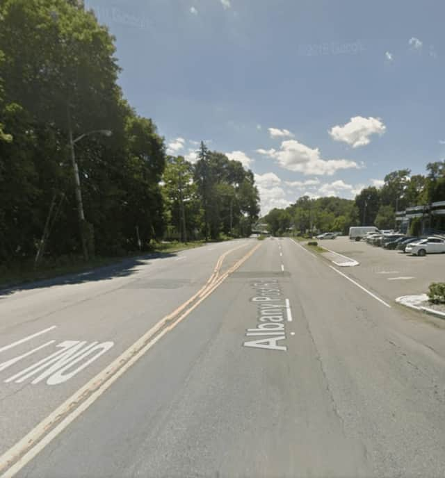 The area of Route 9A (Albany Post Road) where the incident occurred.