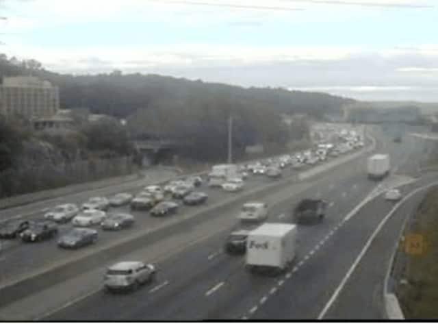 Traffic on I-287 (left) Tuesday.